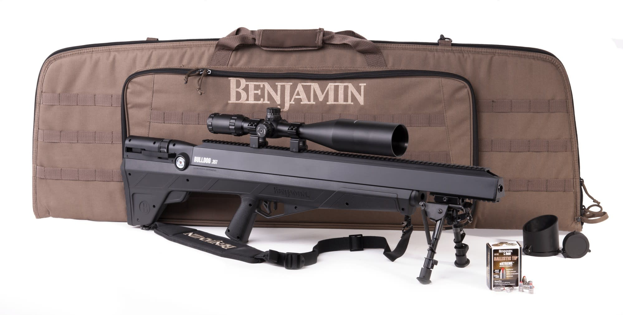Benjamin Bulldog Sportsman's Pack Air Rifle Pre-Charged Pneumatic (PCP) Bolt Action .357 Pellet with 4-16x56mm scope
