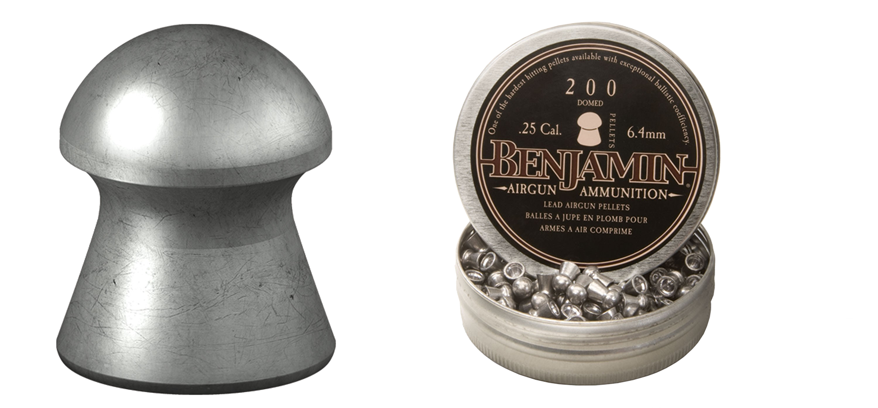 Benjamin .25 Cal Pellet 27.9 Grains Domed Lead 200ct