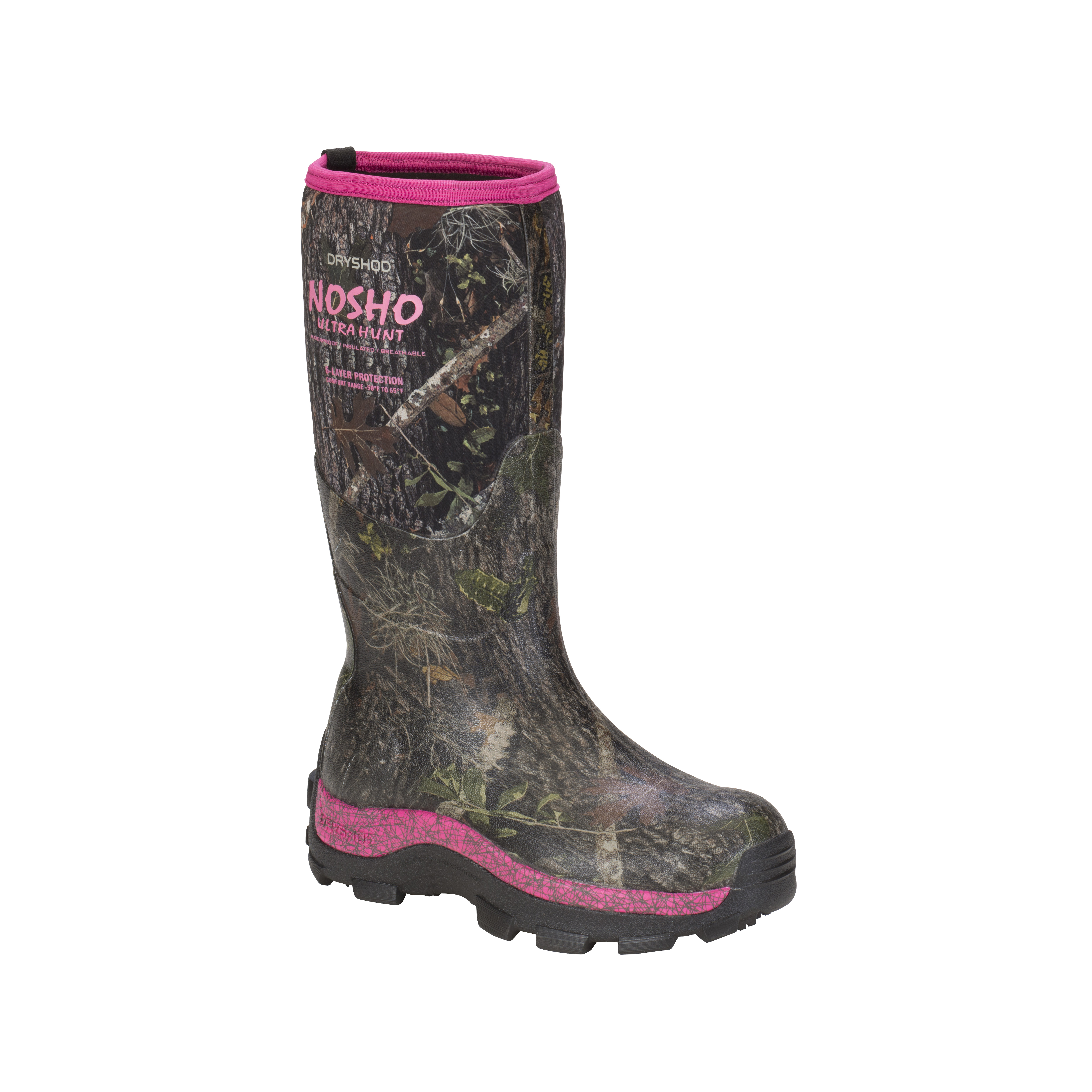Dryshod Women's NoSho Ultra Hunt Camo Extreme Cold-Condition Boots - Hi Cut - Size 6, Camo/Pink