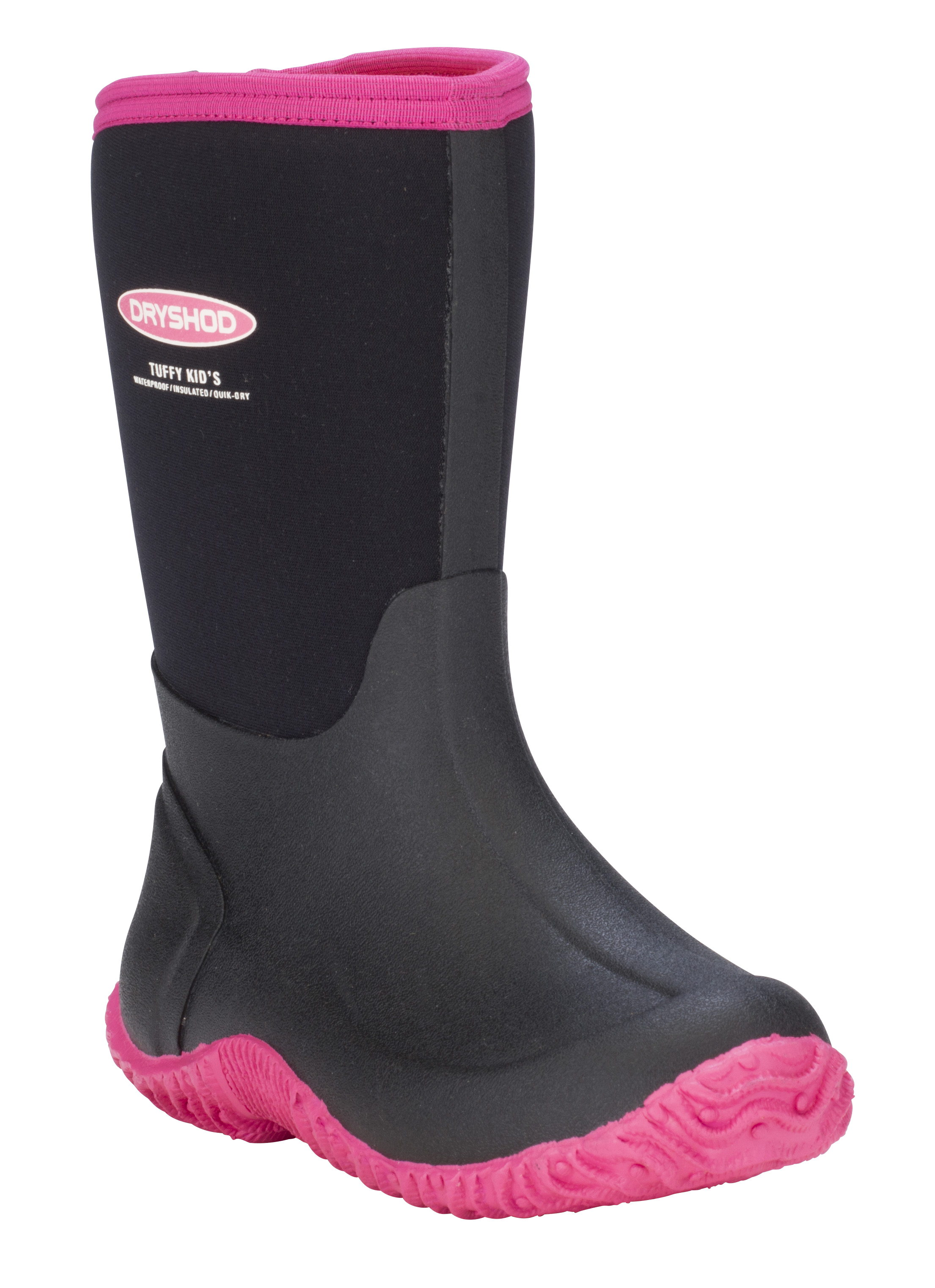 Dryshod Kids' Tuffy All Season Sport Boots - Mid/Hi Cut - Size Y4, Black/Pink