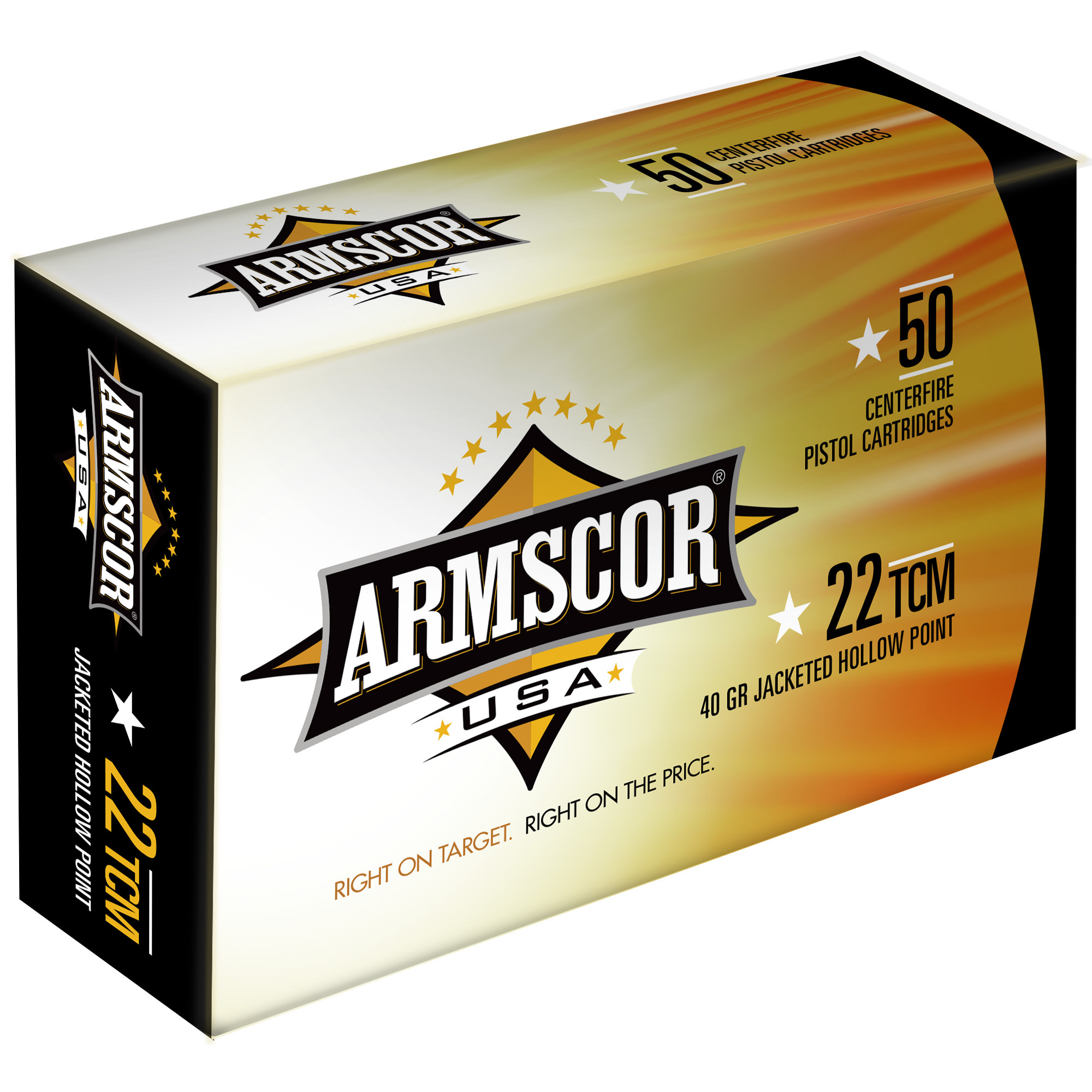 Armscor USA Ammunition 22 TCM 40 Grain Jacketed Hollow Point Per 50