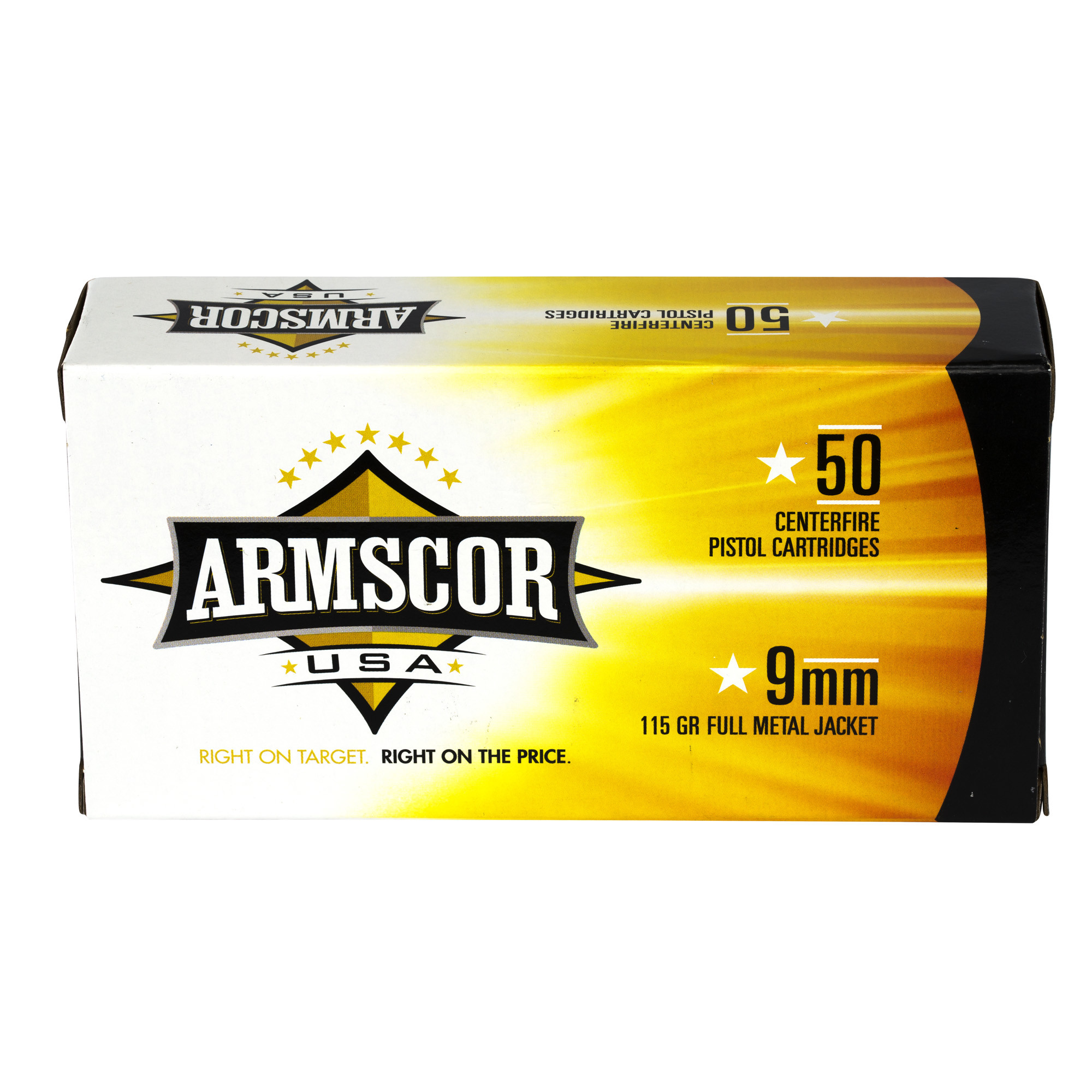 Armscor USA Ammunition 9mm Luger 115 Grain Full Metal Jacket Per 50