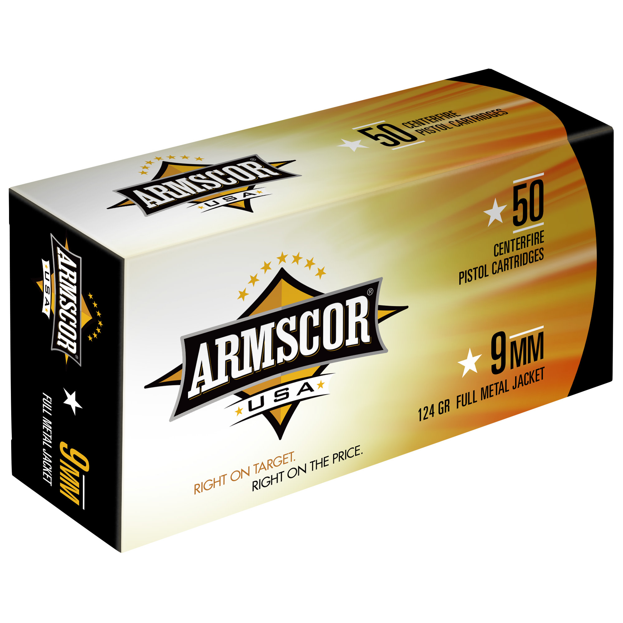 Armscor USA Ammunition 9mm Luger 124 Grain Full Metal Jacket Per 50