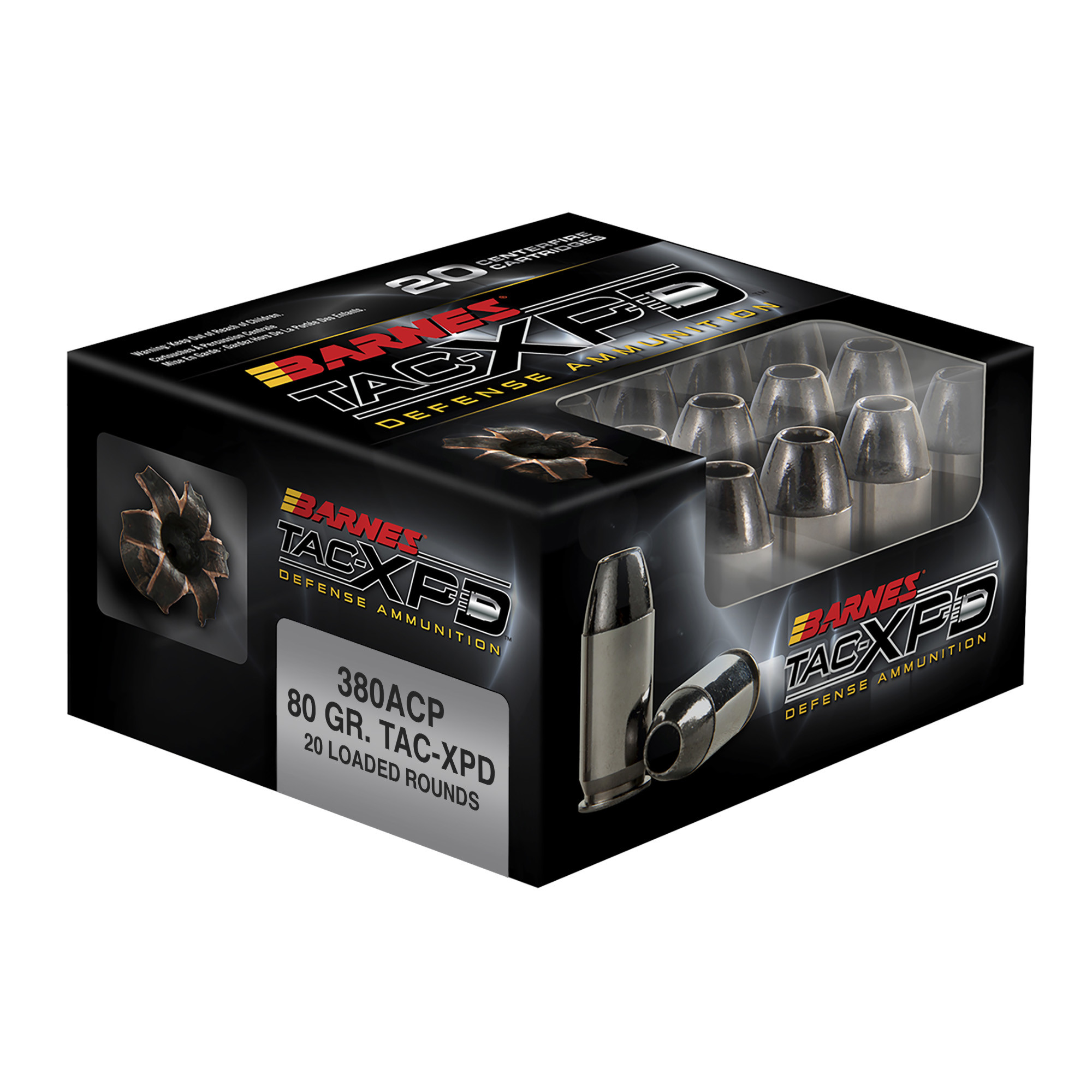 Barnes TAC-XPD Ammunition 380 Auto (ACP) 80 Grain TAC-XP Solid Hollow Point Lead Free Per 20