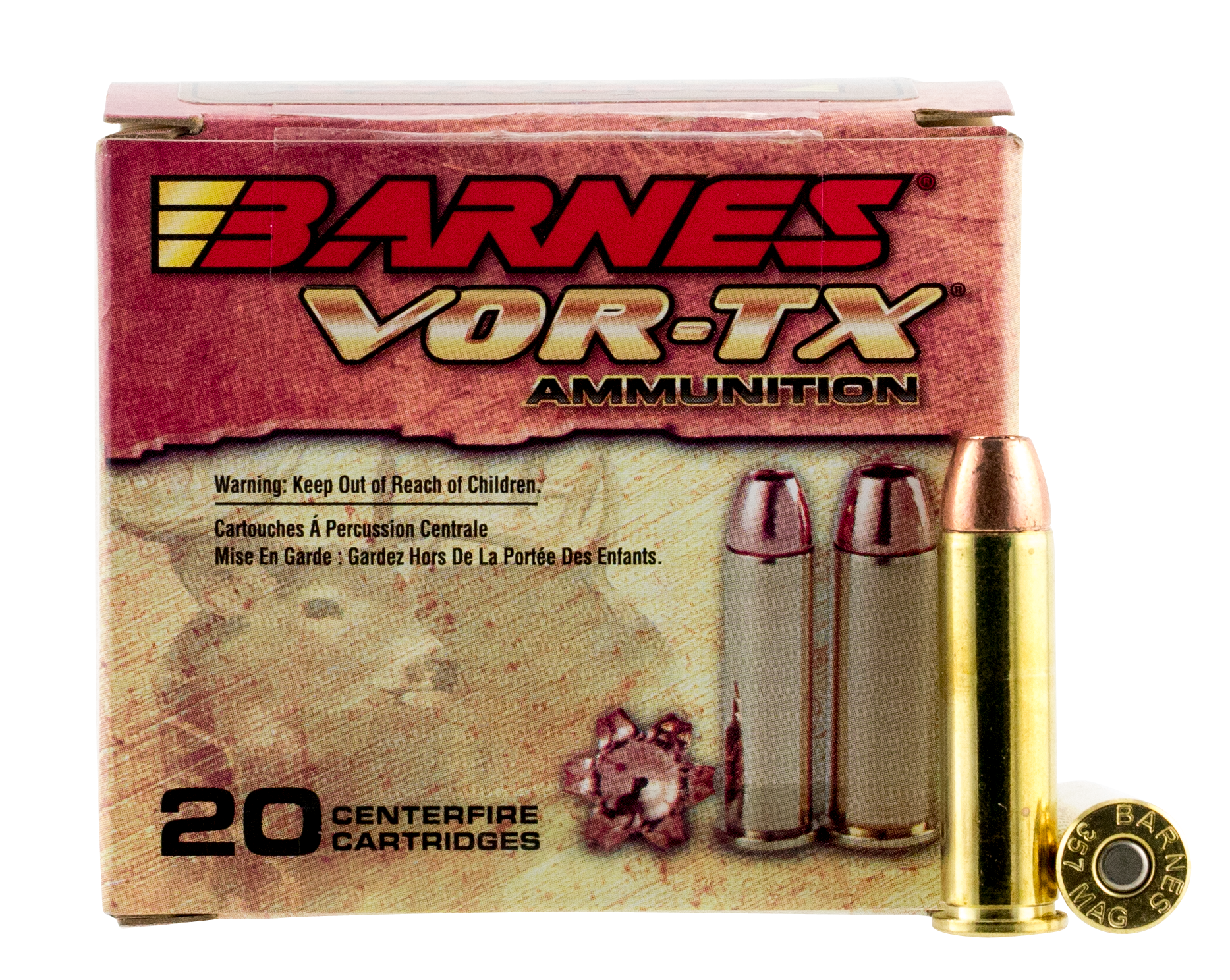 Barnes VOR-TX Ammunition 357 Magnum 140 Grain XPB Solid Hollow Point Lead Free Per 20