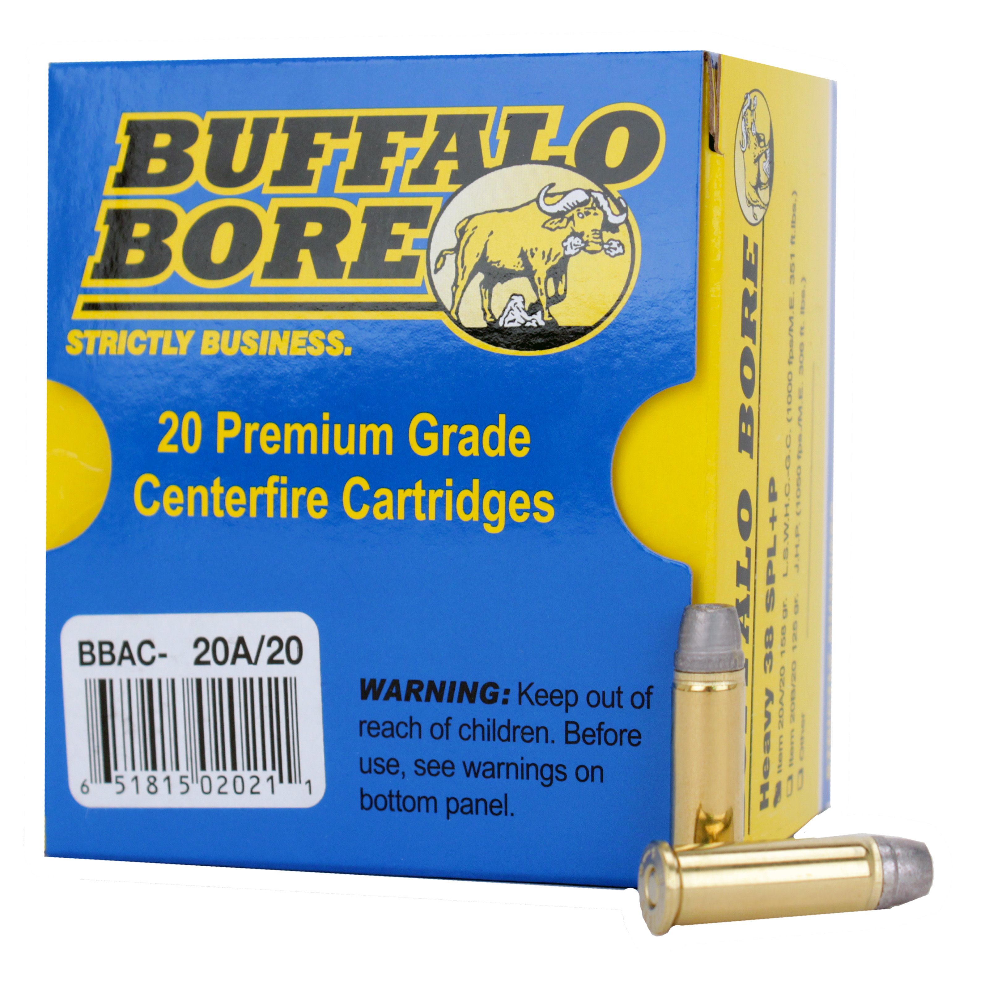 Buffalo Bore Ammunition 38 Special +P 158 Grain Lead Semi-Wadcutter Hollow Point Per 20