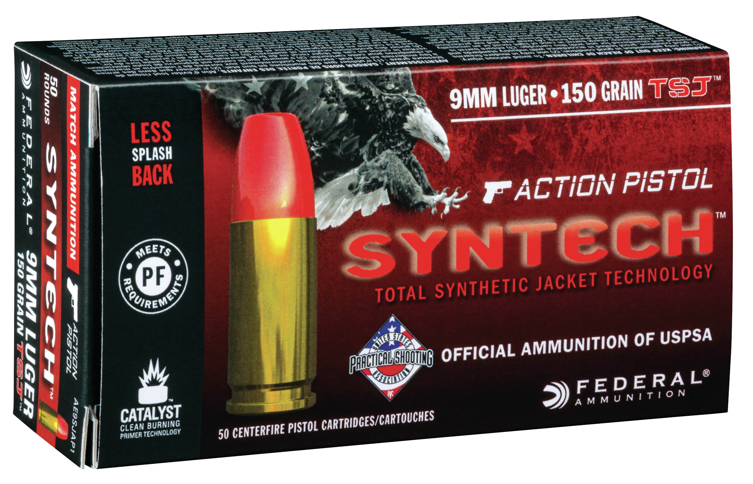 Federal American Eagle Action Pistol Syntech Ammunition 9mm Luger 150 Grain Total Synthetic Jacket Per 50
