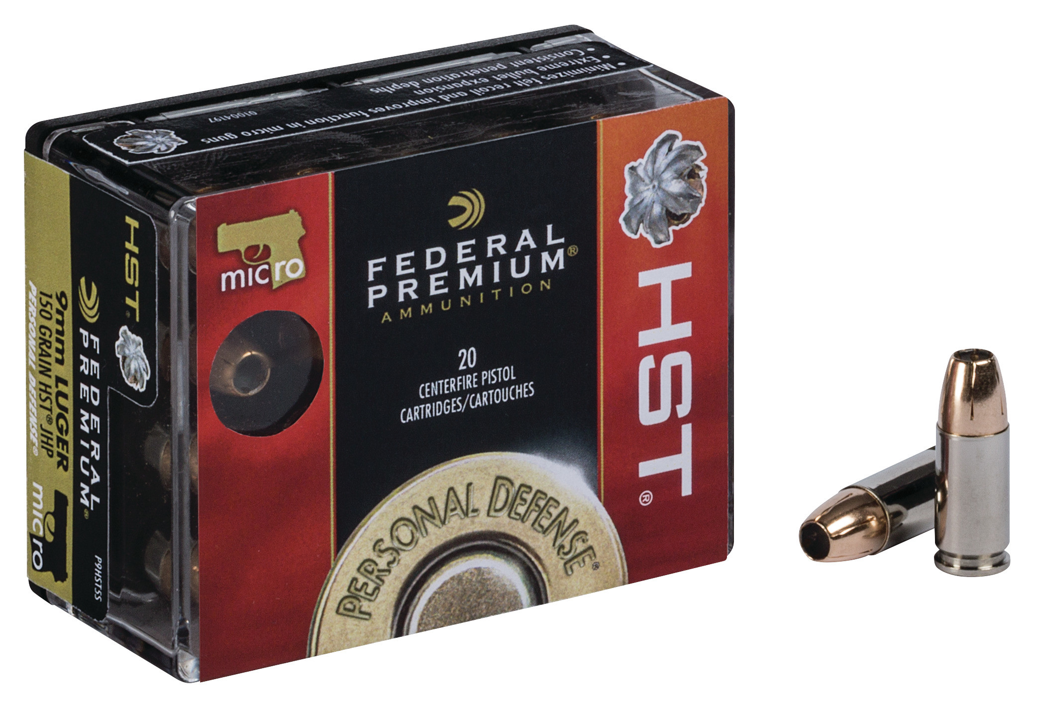 Federal Premium Personal Defense Ammunition 9mm Luger 150 Grain HST Jacketed Hollow Point Per 20