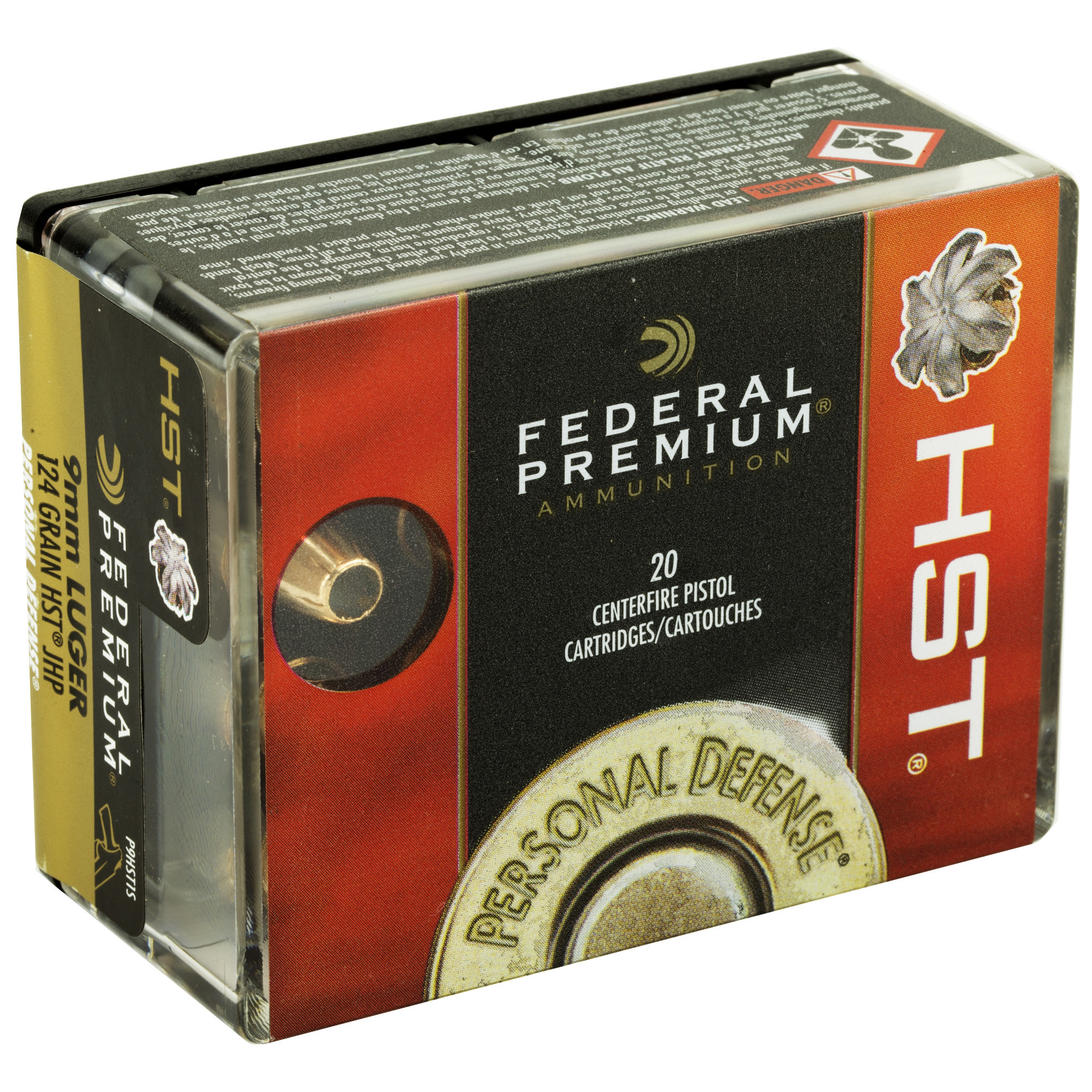 Federal Premium Personal Defense Ammunition 9mm Luger 124 Grain HST Jacketed Hollow Point Per 20