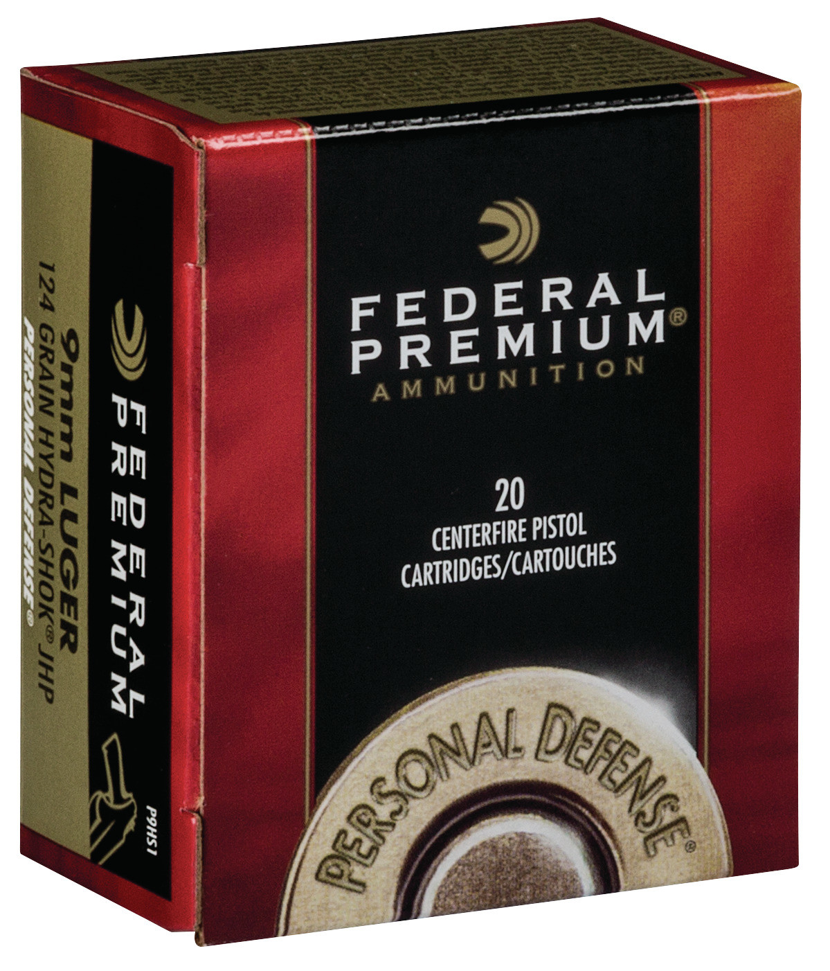 Federal Premium Personal Defense Ammunition 9mm Luger 124 Grain Hydra-Shok Jacketed Hollow Point Per 20