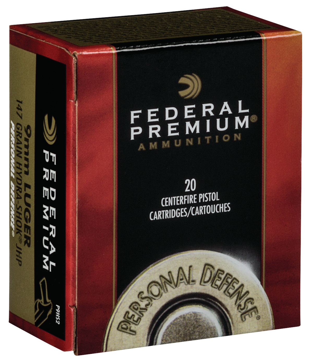 Federal Premium Personal Defense Ammunition 9mm Luger 147 Grain Hydra-Shok Jacketed Hollow Point Per 20