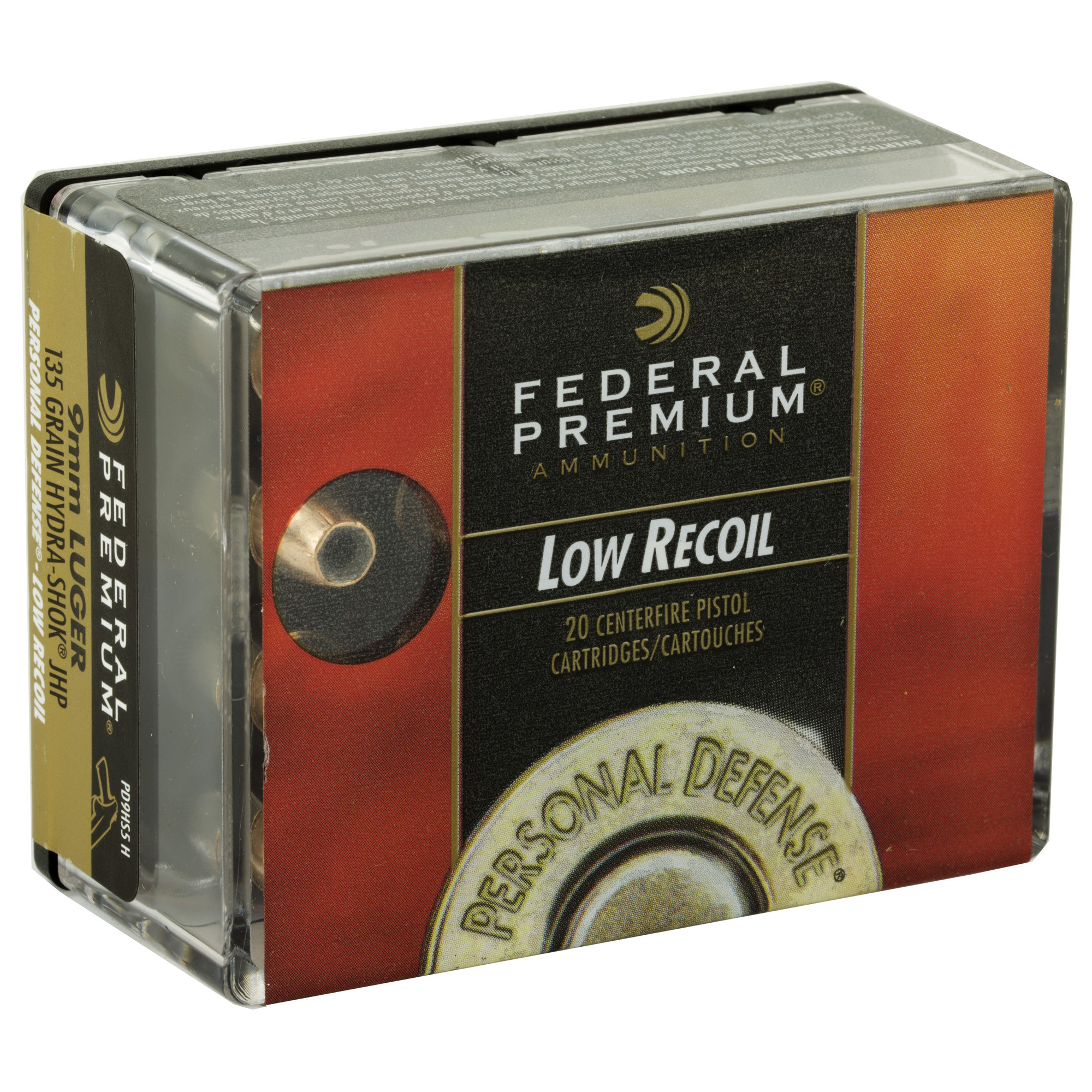 Federal Premium Personal Defense Ammunition 9mm Luger 135 Grain Hydra-Shok Low Recoil Jacketed Hollow Point Per 20