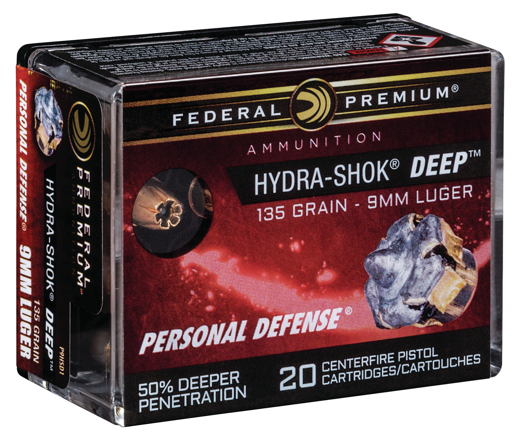Federal Premium Personal Defense Ammunition 9mm Luger 135 Grain Hydra-Shok Deep Jacketed Hollow Point Per 20