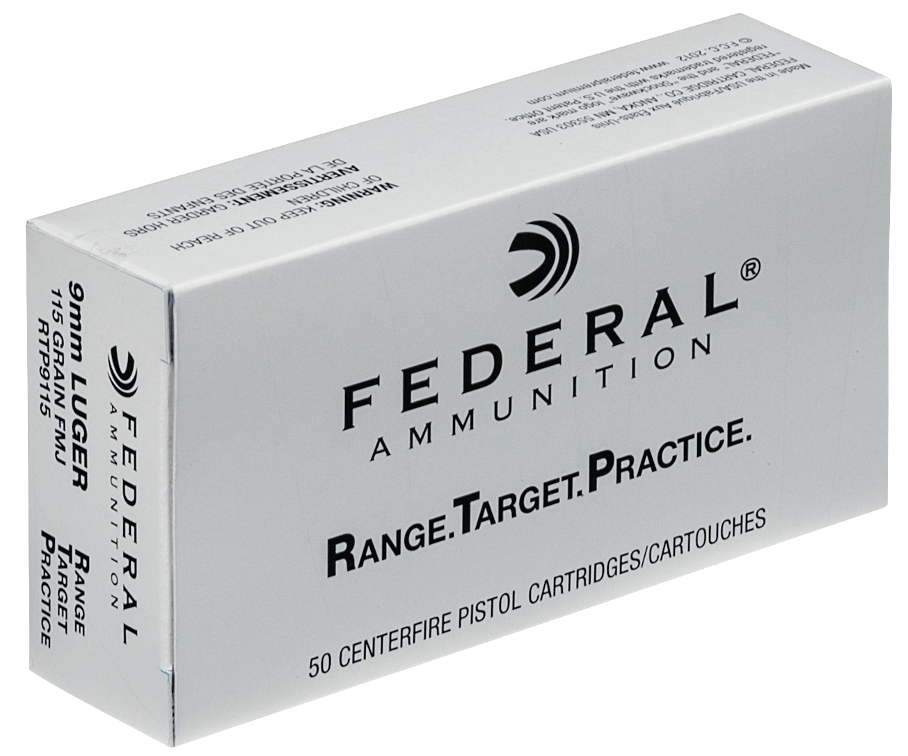 Federal RTP Ammunition 9mm Luger 115 Grain Full Metal Jacket Per 50