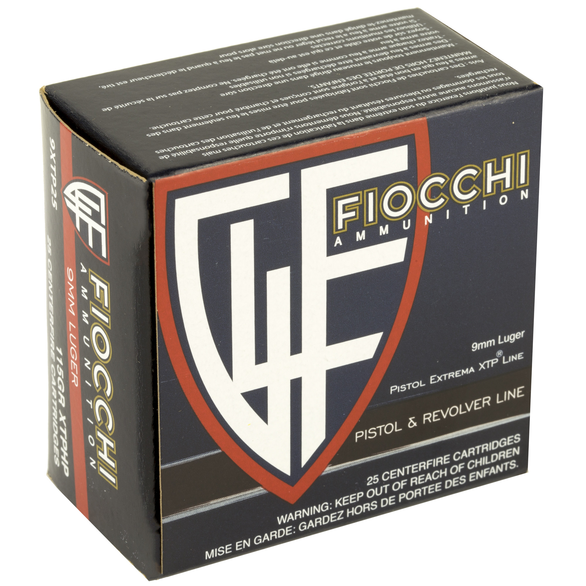 Fiocchi Extrema Ammunition 9mm Luger 115 Grain Hornady XTP Jacketed Hollow Point Per 25