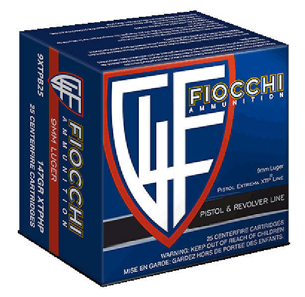Fiocchi Extrema Ammunition 9mm Luger 147 Grain Hornady XTP Jacketed Hollow Point Per 25