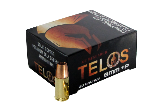 G2 Research Telos Ammunition 9mm Luger +P 92 Grain Controlled Fragmenting Solid Copper Hollow Point Lead Free Per 20