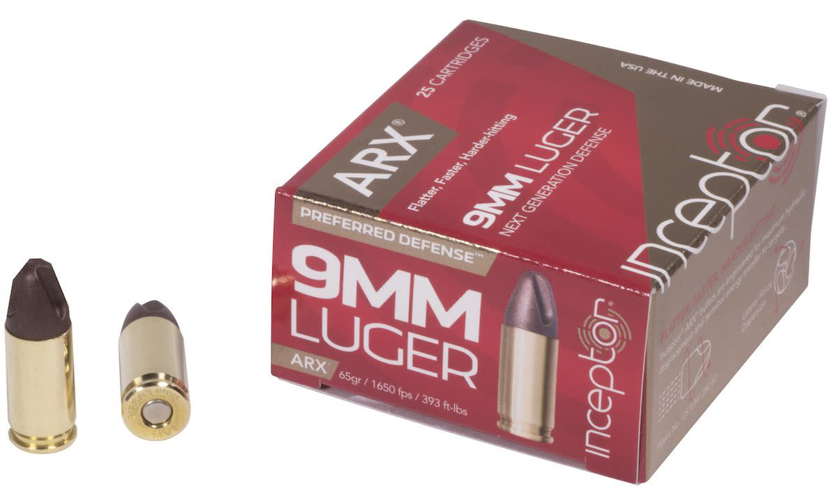 Inceptor Preferred Defense Ammunition 9mm Luger 65 Grain ARX Frangible Lead Free Per 25