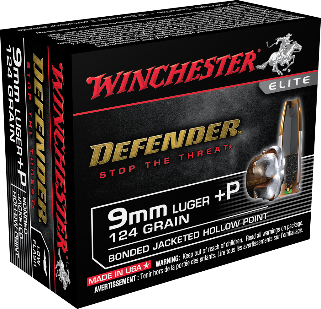 Winchester PDX1 Defender Ammunition 9mm Luger +P 124 Grain Bonded Jacketed Hollow Point Per 20