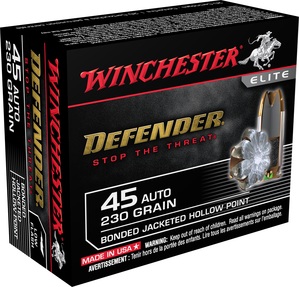 Winchester PDX1 Defender Ammunition 45 Auto (ACP) 230 Grain Bonded Jacketed Hollow Point Per 20