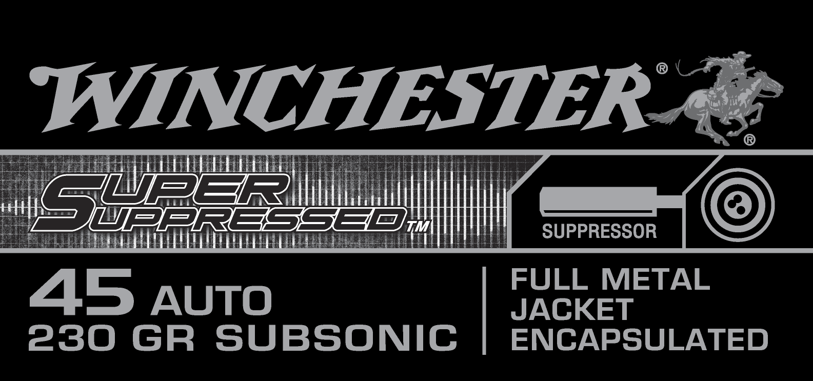Winchester Super Suppressed Ammunition 45 Auto (ACP) 230 Grain Full Metal Jacket Per 50