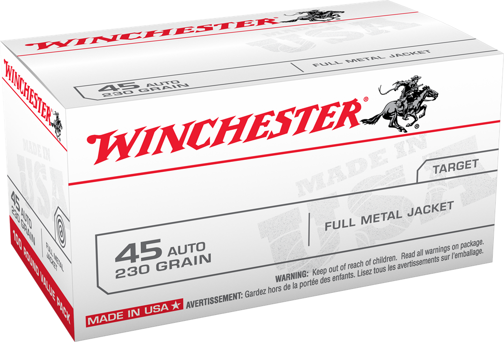 Winchester USA Ammunition 45 Auto (ACP) 230 Grain Full Metal Jacket Per 100