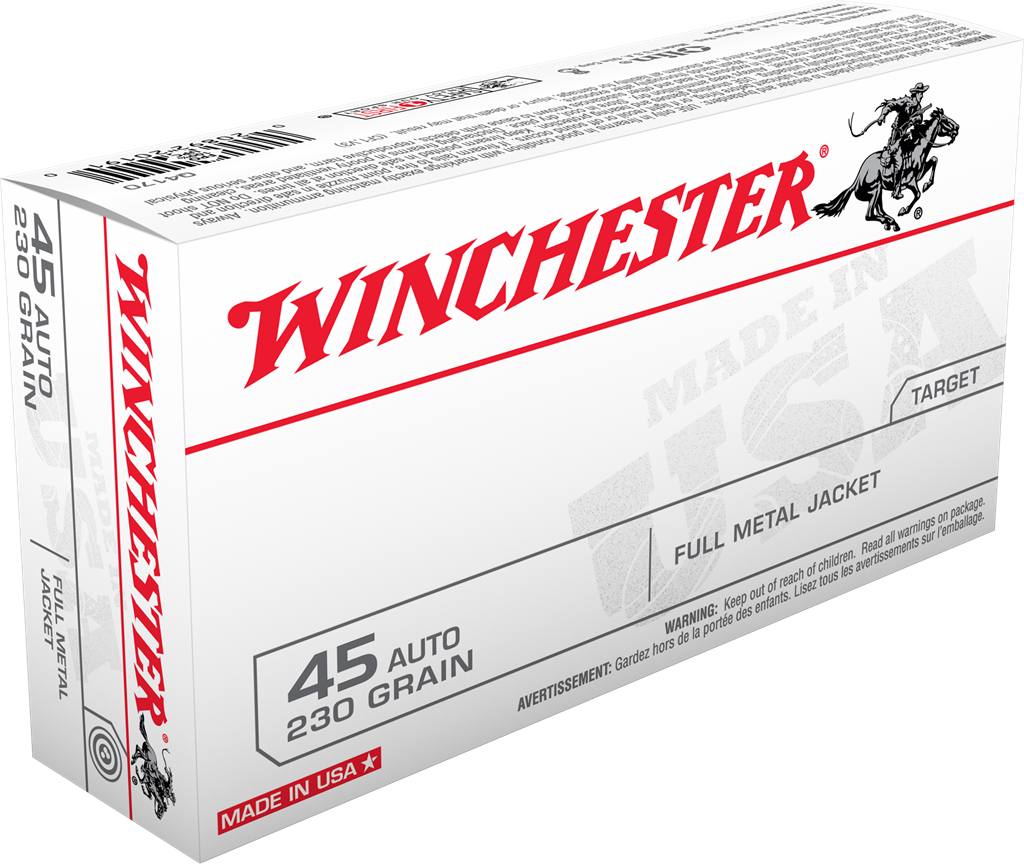 Winchester USA Ammunition 45 Auto (ACP) 230 Grain Full Metal Jacket Per 50