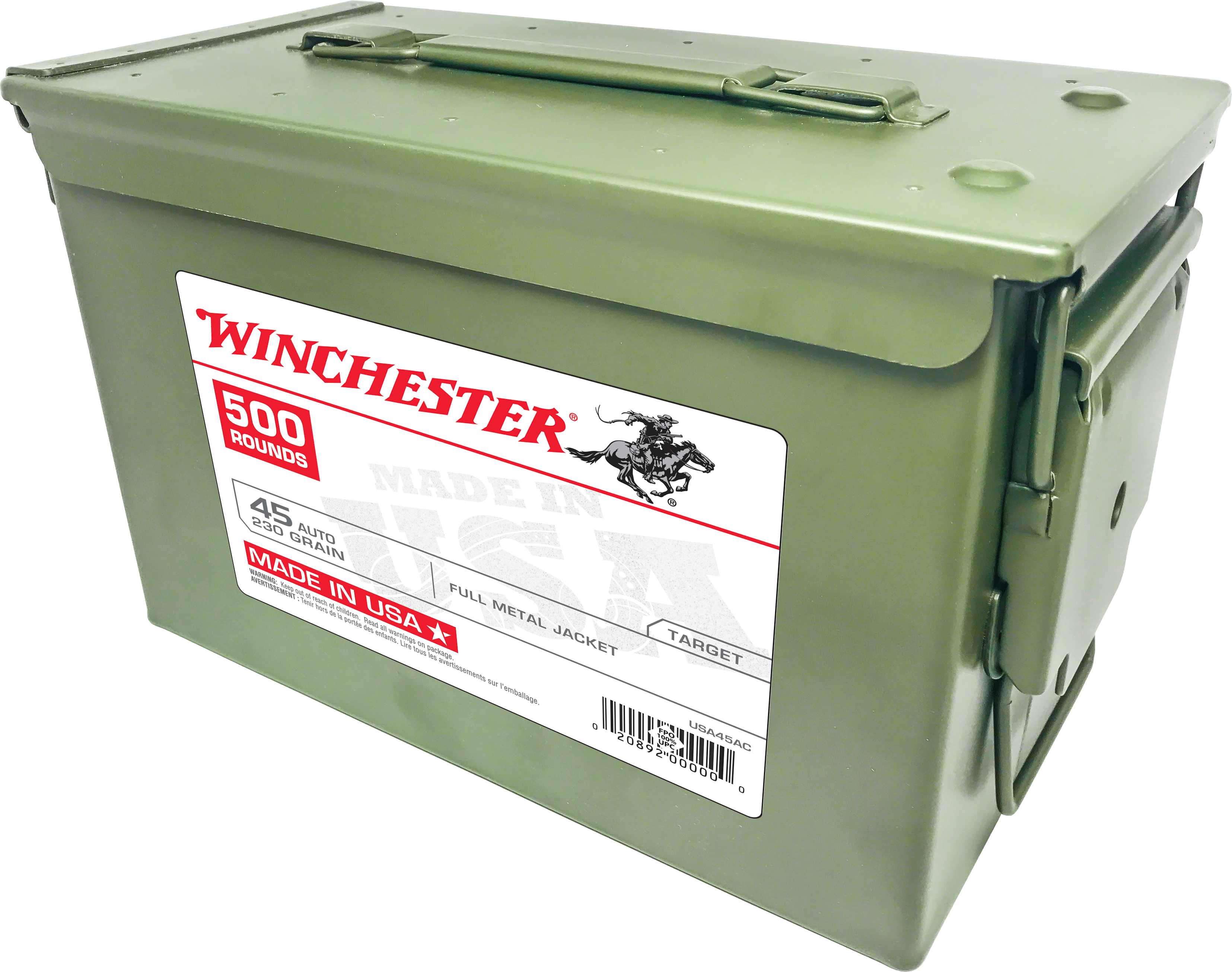 Winchester USA Ammunition 45 Auto (ACP) 230 Grain Full Metal Jacket Per 500