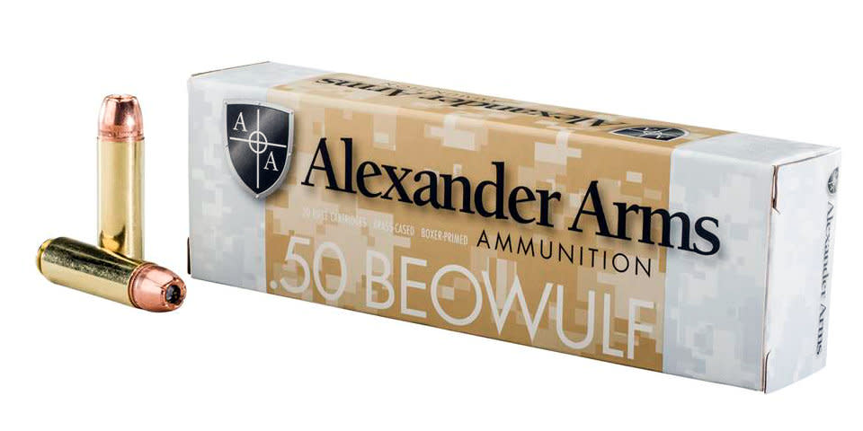 Alexander Arms Ammunition 50 Beowulf 350GR Hornady XTP Jacketed Hollow Point Per 20