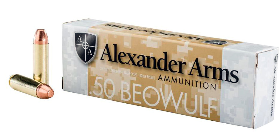 Alexander Arms Ammunition 50 Beowulf 335GR Flat Point Per 20