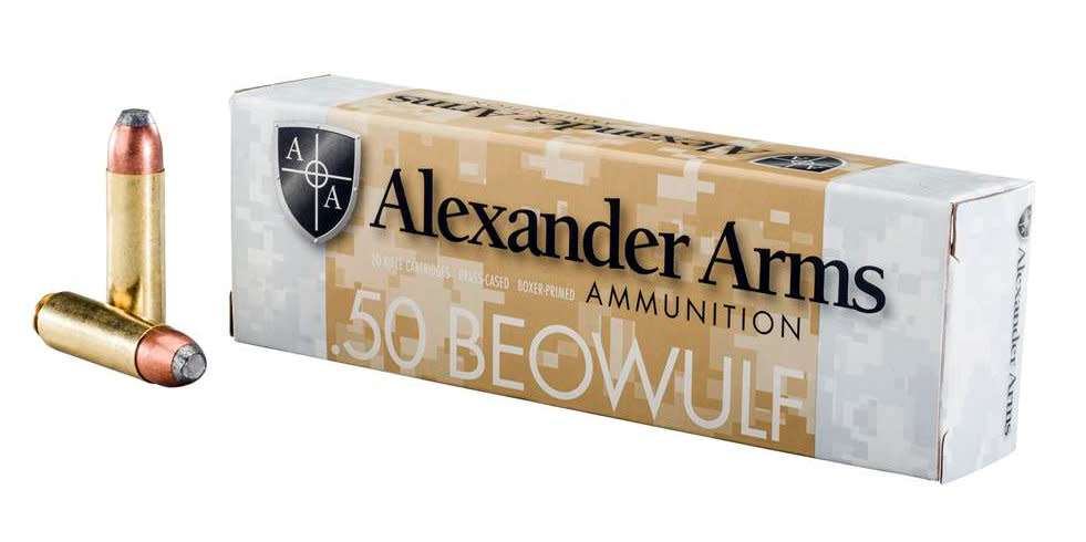 Alexander Arms Ammunition 50 Beowulf 400GR Jacketed Flat Point Per 20