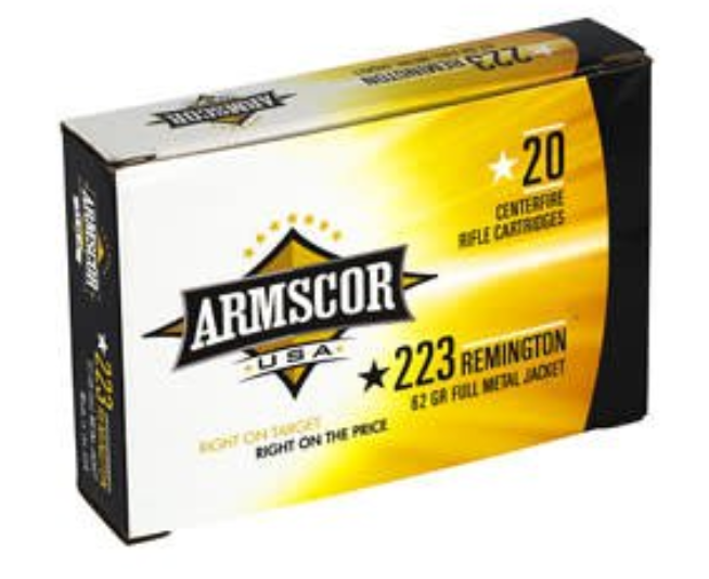 Armscor USA Ammunition 223 Remington 62GR Full Metal Jacket Per 20
