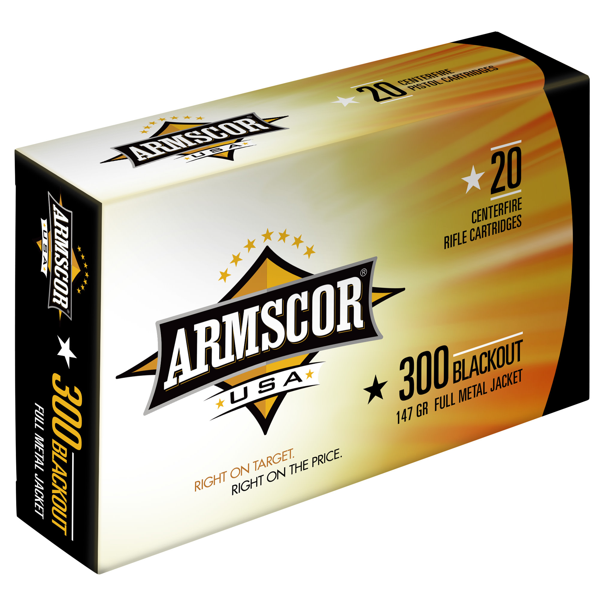 Armscor USA Ammunition 300 AAC Blackout 147GR Full Metal Jacket Per 20