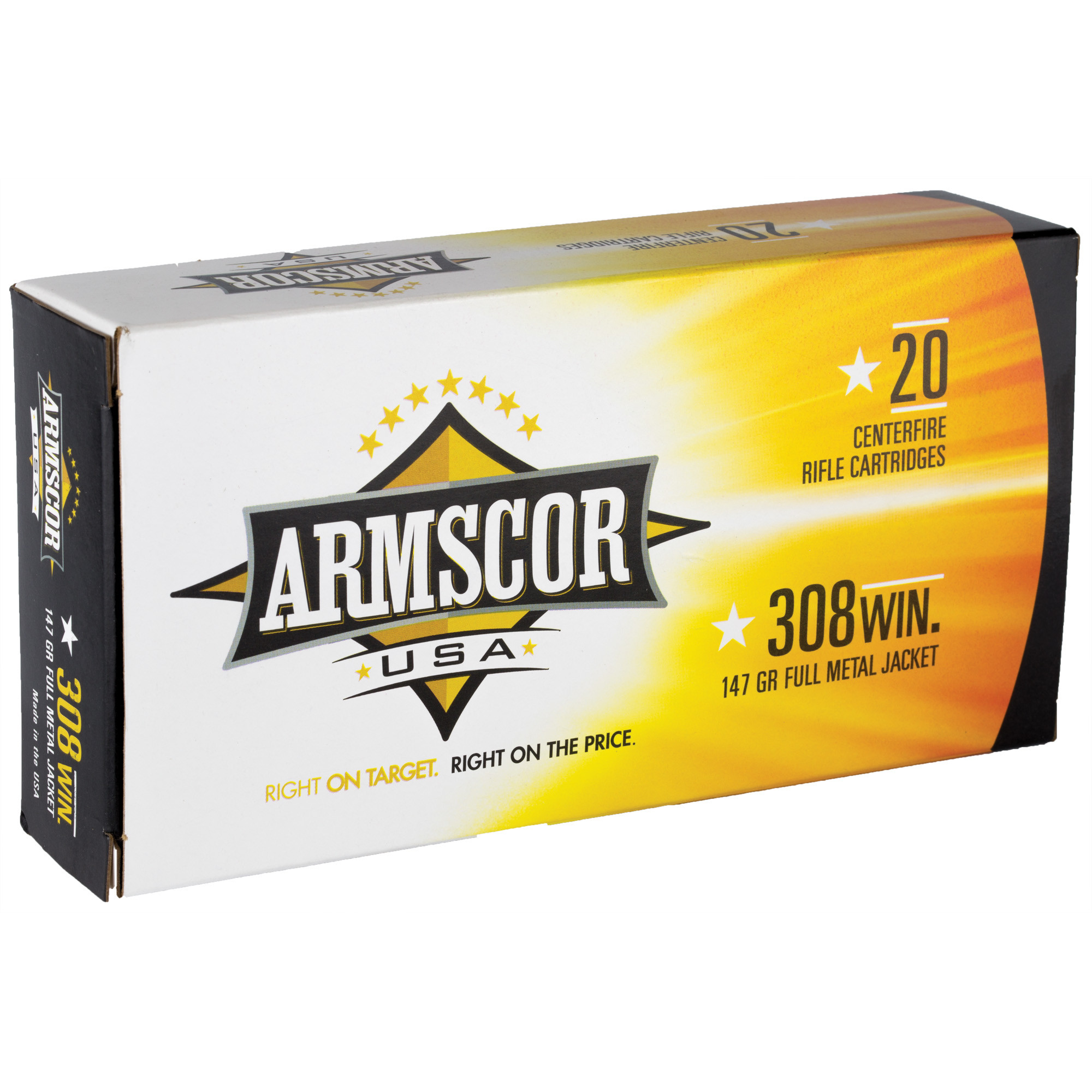 Armscor USA Ammunition 308 Winchester 147GR Full Metal Jacket Per 20