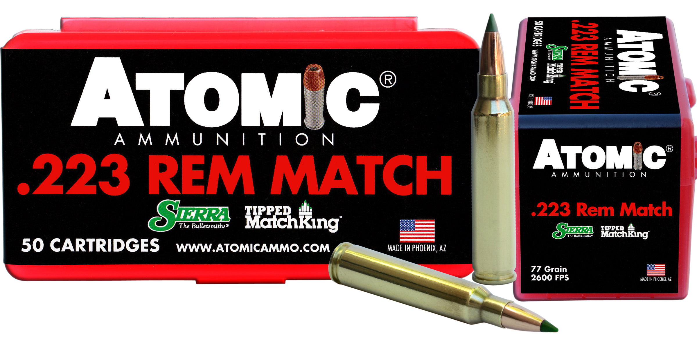 Atomic Match Ammunition 223 Remington 77GR Sierra Tipped MatchKing Polymer Tip Per 50