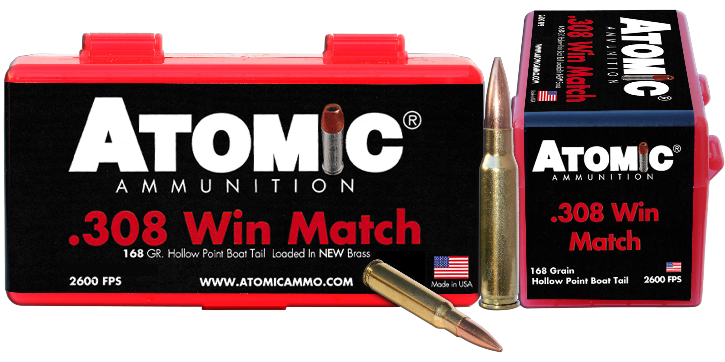Atomic Match Ammunition 308 Winchester 168GR Hollow Point Boat Tail Per 50