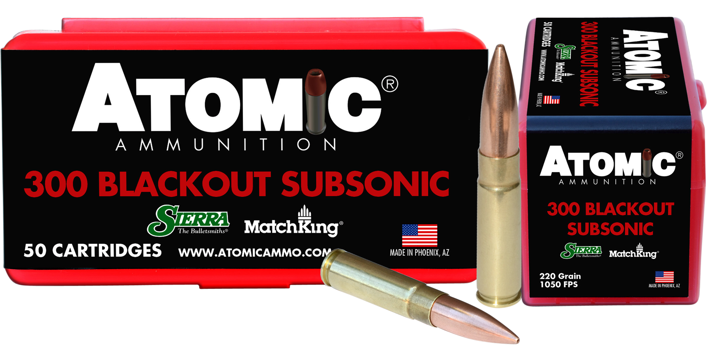 Atomic Subsonic Ammunition 300 AAC Blackout 220GR Sierra MatchKing Hollow Point Boat Tail Per 50