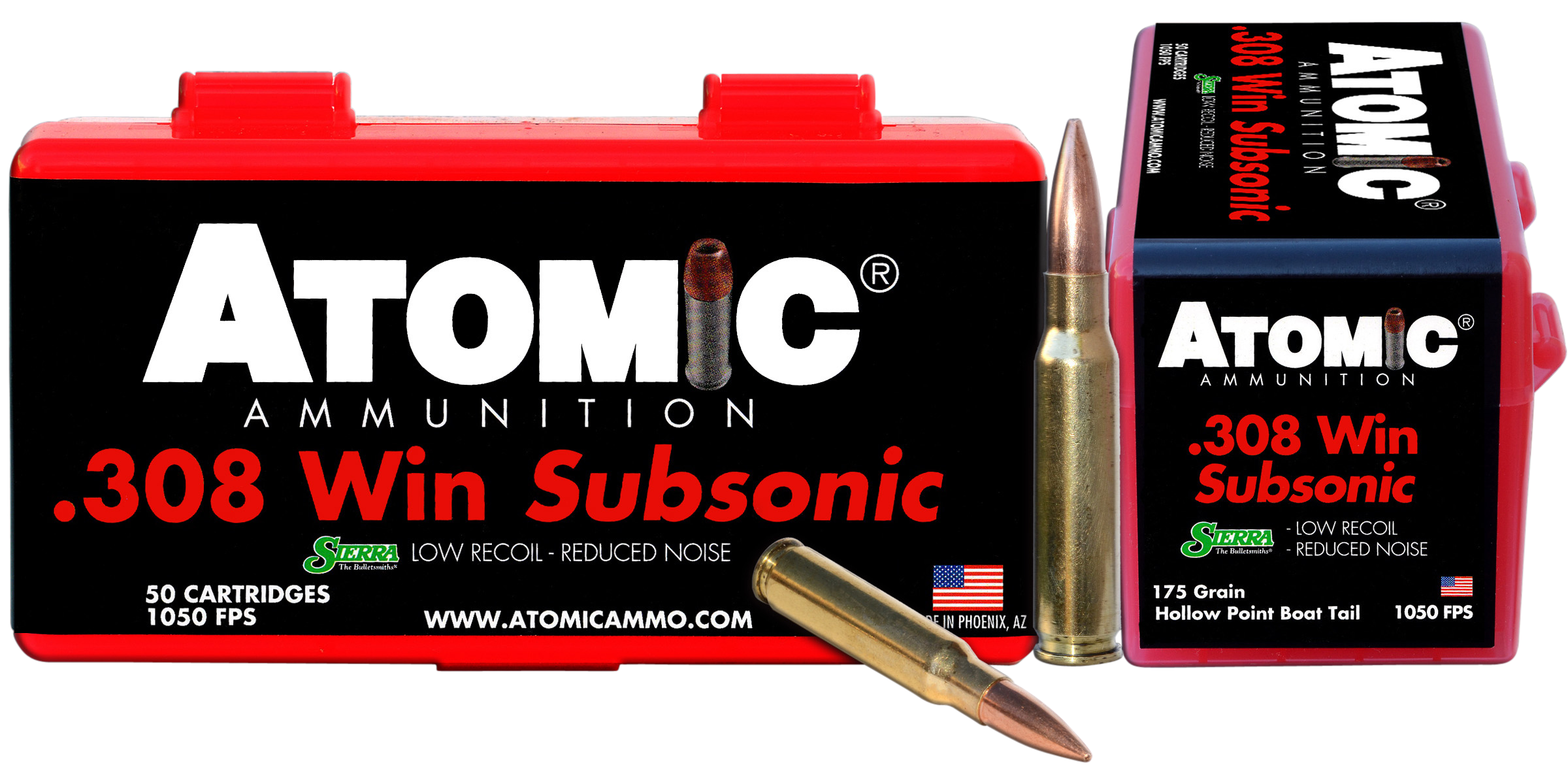 Atomic Subsonic Ammunition 308 Winchester 175GR Sierra MatchKing Hollow Point Boat Tail Per 50