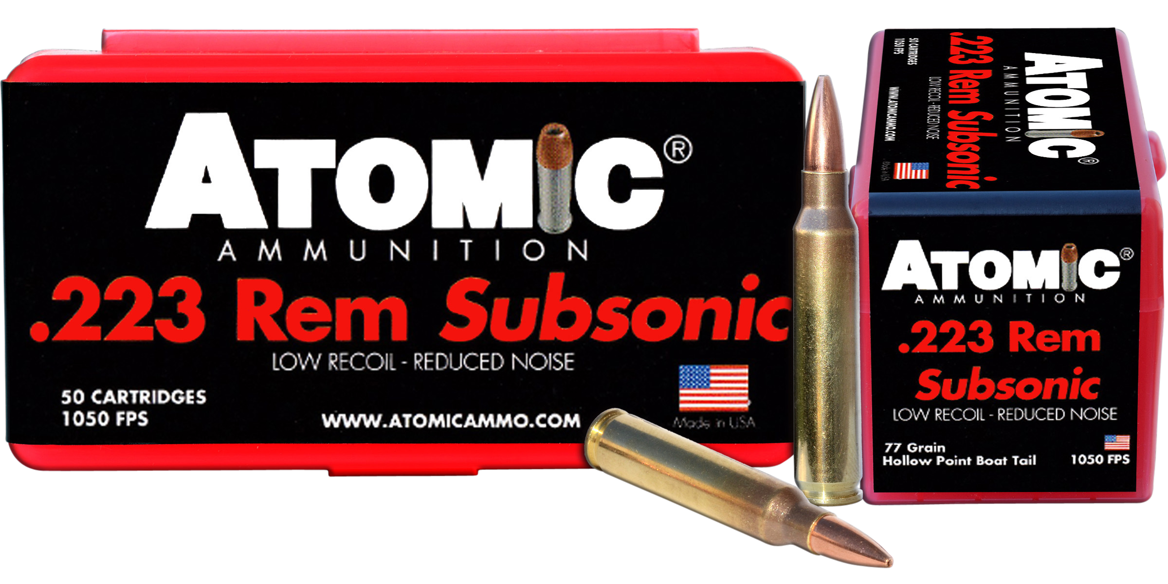 Atomic Subsonic Ammunition 223 Remington 77GR Hollow Point Boat Tail Per 50