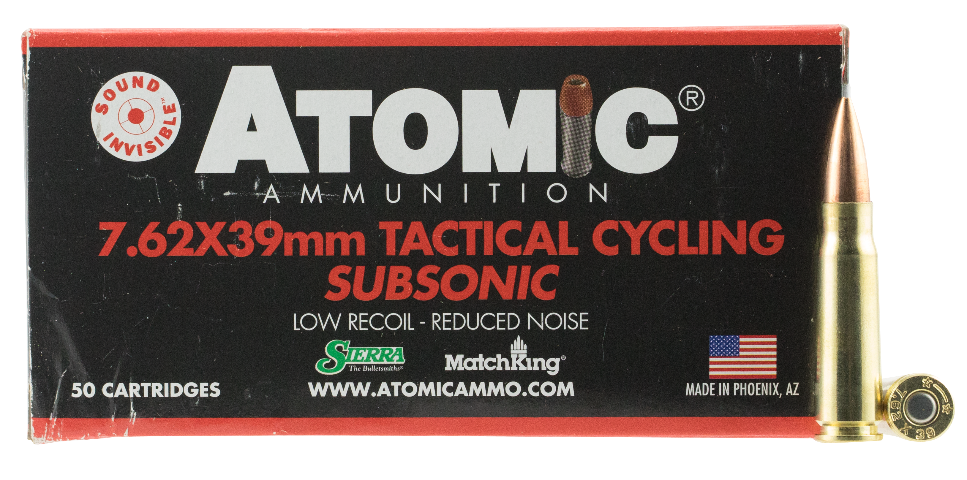 Atomic Tactical Cycling Subsonic Ammunition 7.62x39mm 220GR Sierra MatchKing Hollow Point Boat Tail Per 50