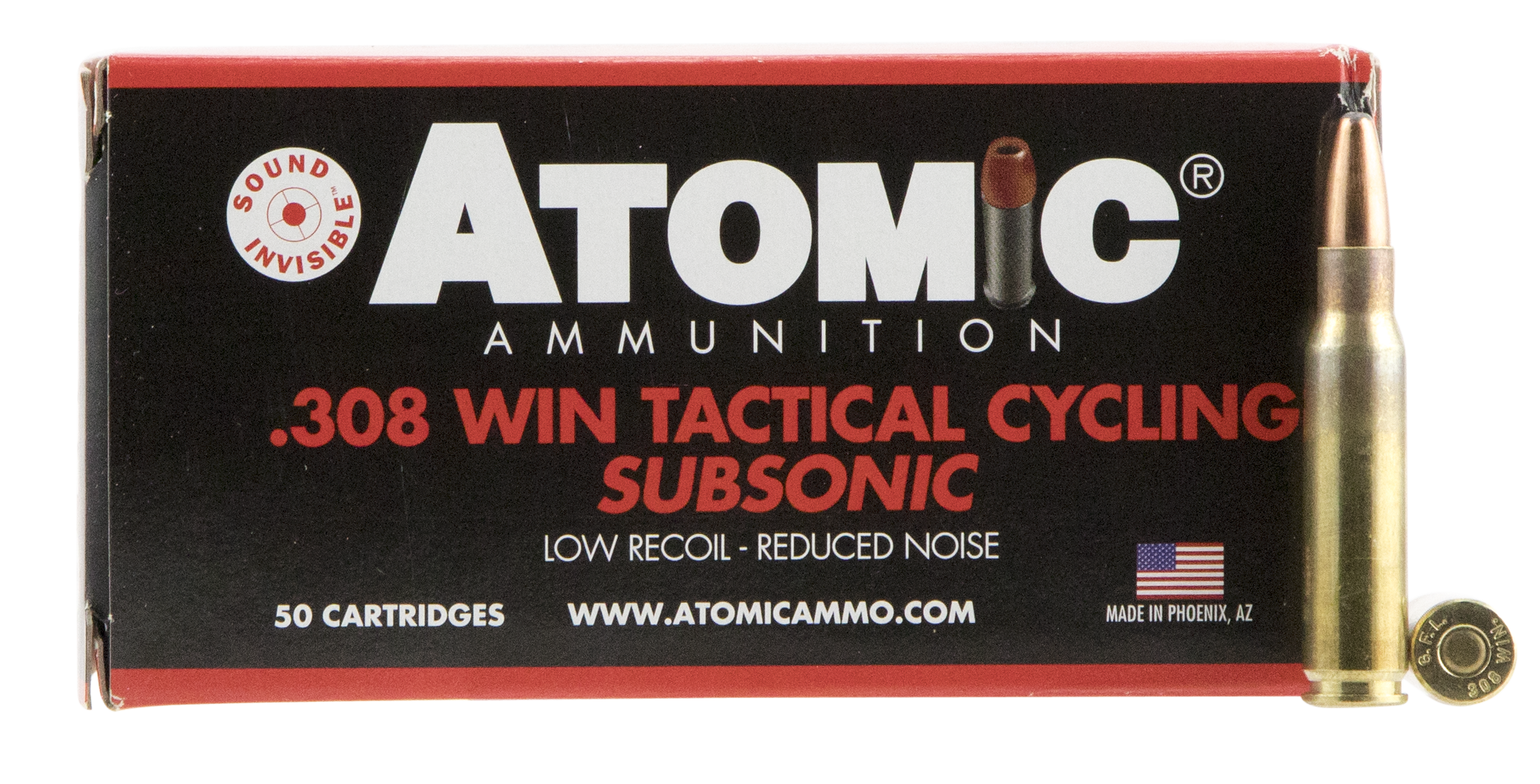 Atomic Tactical Cycling Subsonic Ammunition 308 Winchester 260GR Soft Point Round Nose Per 50