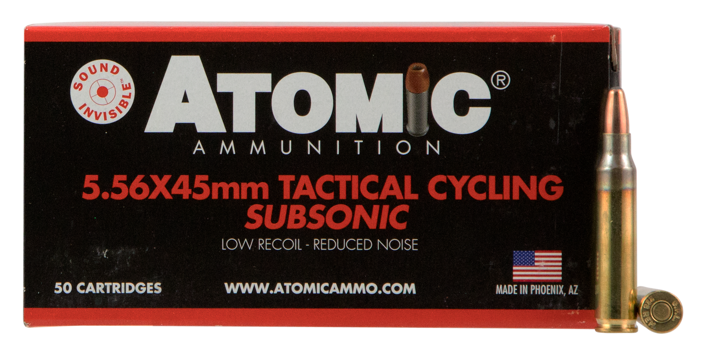 Atomic Tactical Cycling Subsonic Ammunition 5.56x45mm NATO 112GR Soft Point Round Nose Per 50