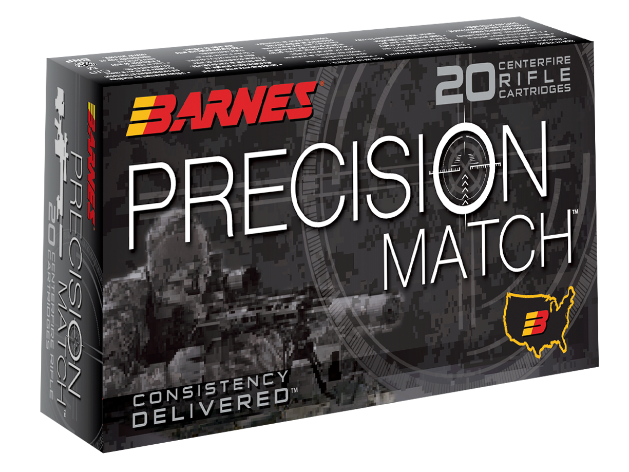 Barnes Precision Match Ammunition 5.56x45mm NATO 85GR Open Tip Match Per 20