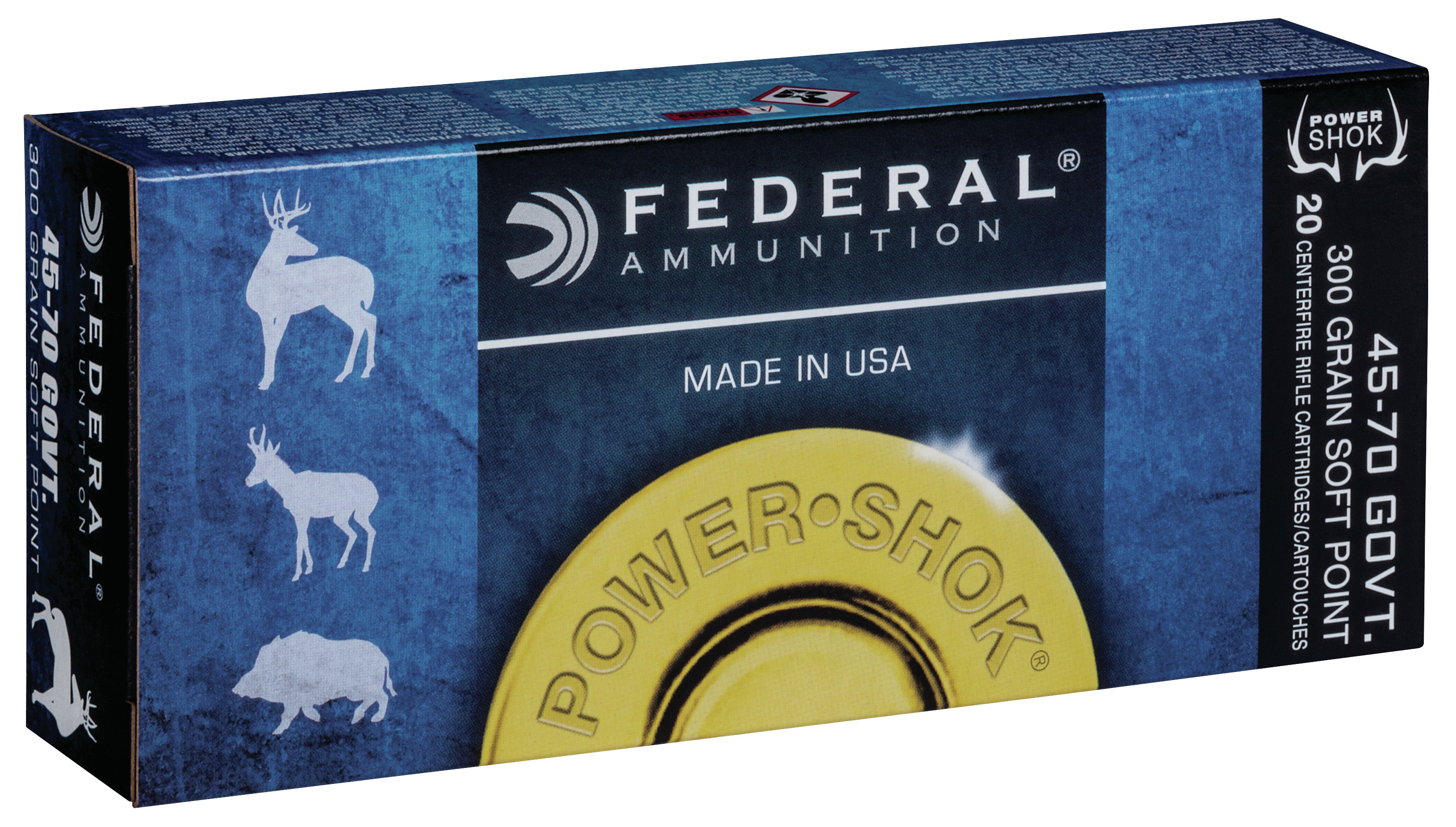 Federal Power-Shok Ammunition 45-70 Government 300GR Jacketed Soft Point Per 20