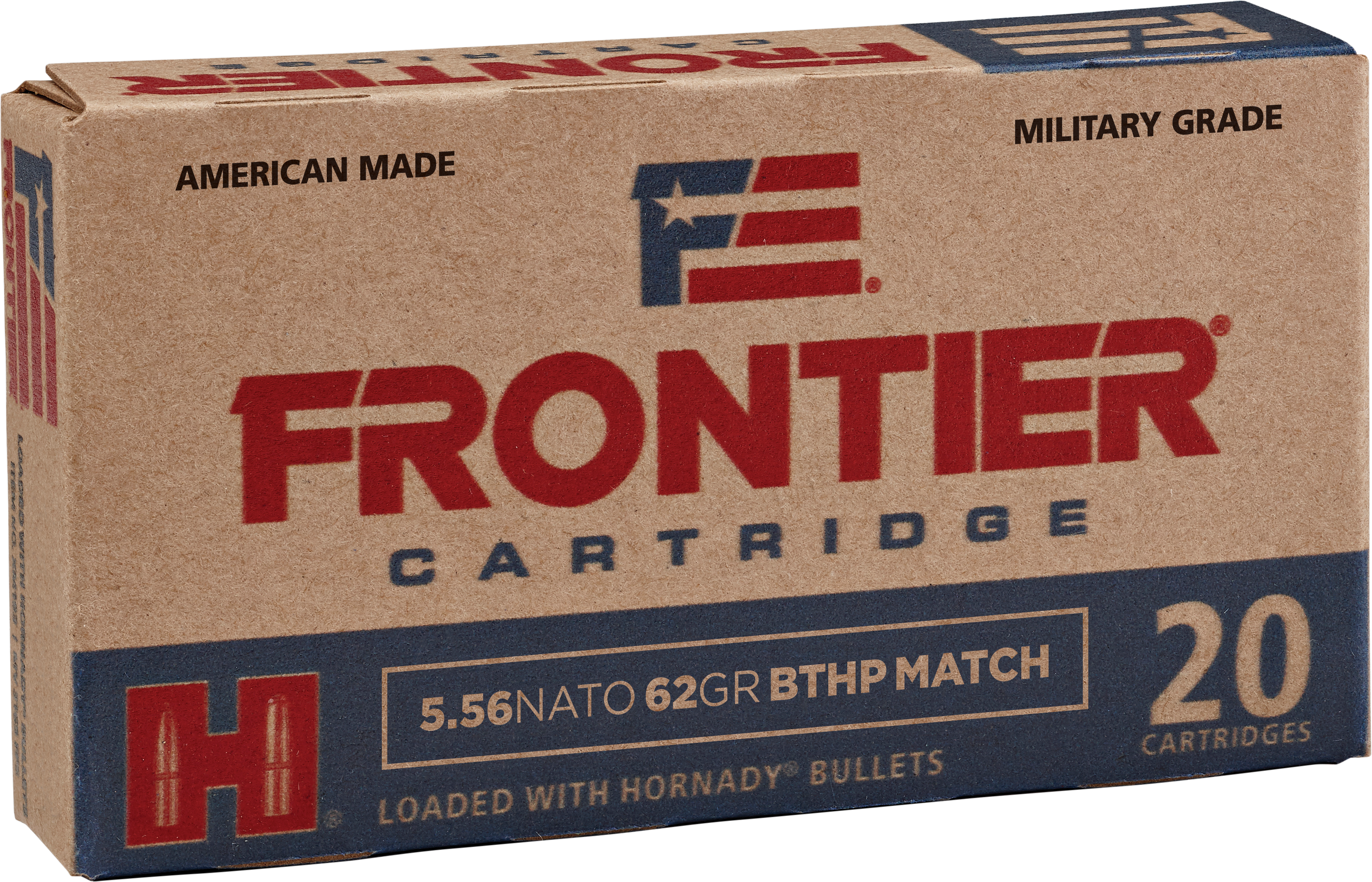 Frontier Cartridge Military Grade Ammunition 5.56x45mm NATO 62GR Hornady Hollow Point Boat Tail Per 20