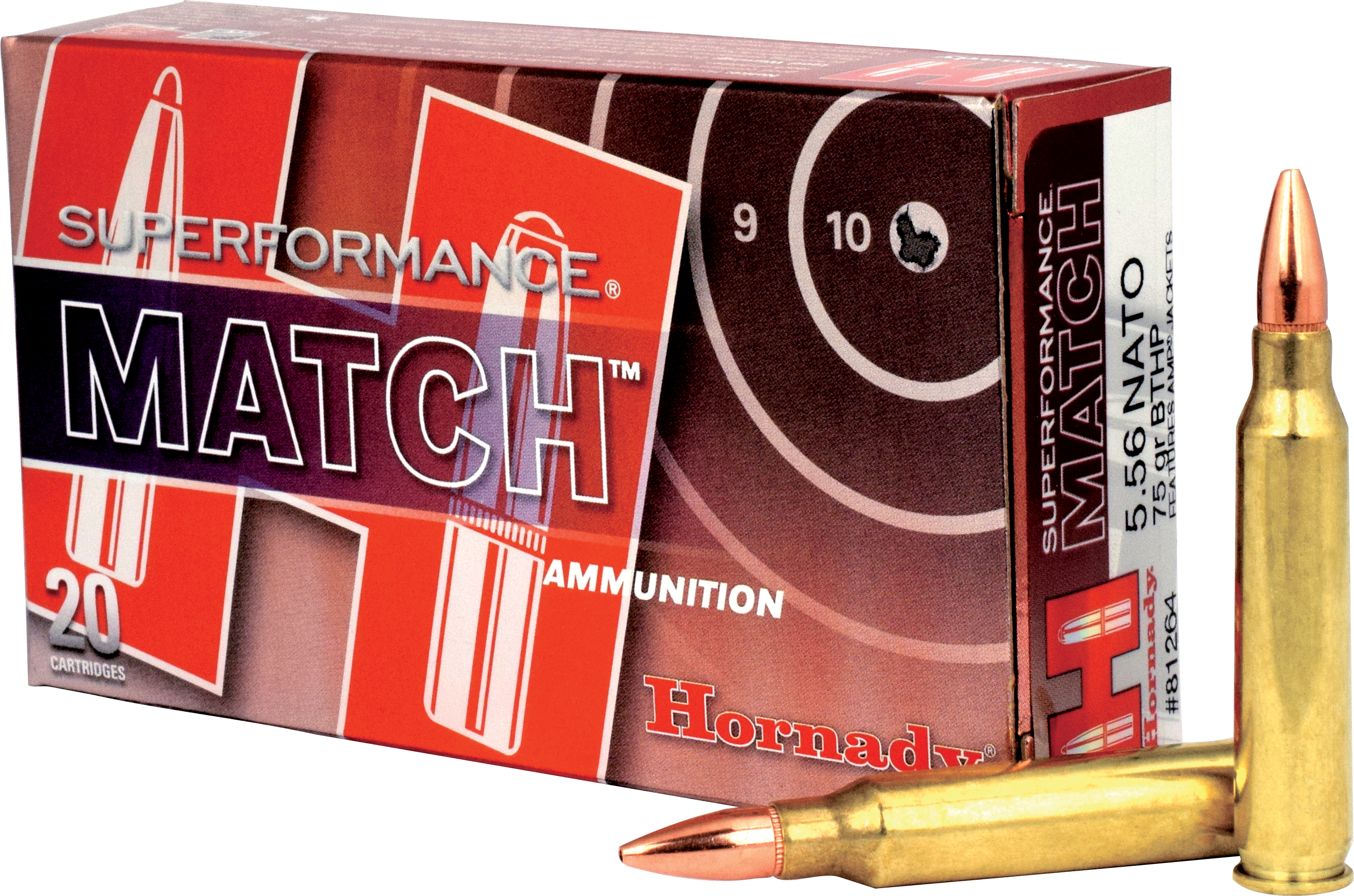 Hornady Superformance Match Ammunition 5.56x45mm NATO 75GR Hollow Point Boat Tail Per 20