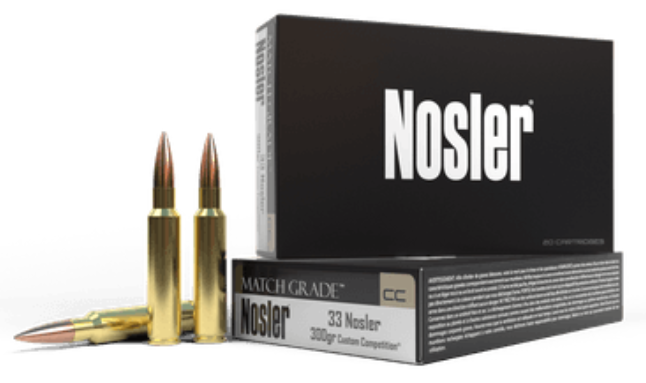 Nosler Match Grade Ammunition 33 Nosler 300GR Custom Competition Hollow Point Boat Tail Per 20