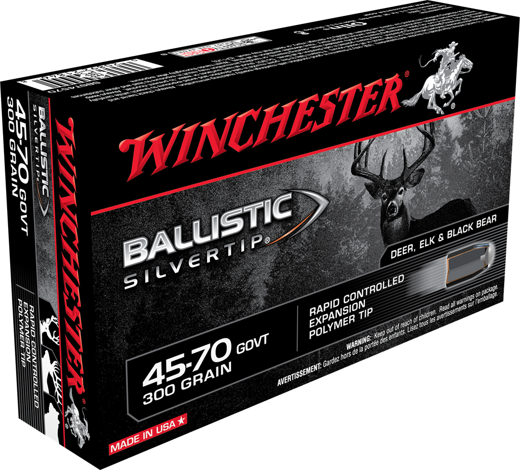 Winchester Ballistic Silvertip Ammunition 45-70 Government 300GR Ballistic Silvertip Rapid Controlled Expansion Polymer Tip Per 20