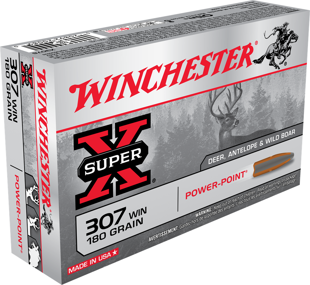 Winchester Super-X Ammunition 307 Winchester 180GR Power Point Jacketed Soft Point Per 20