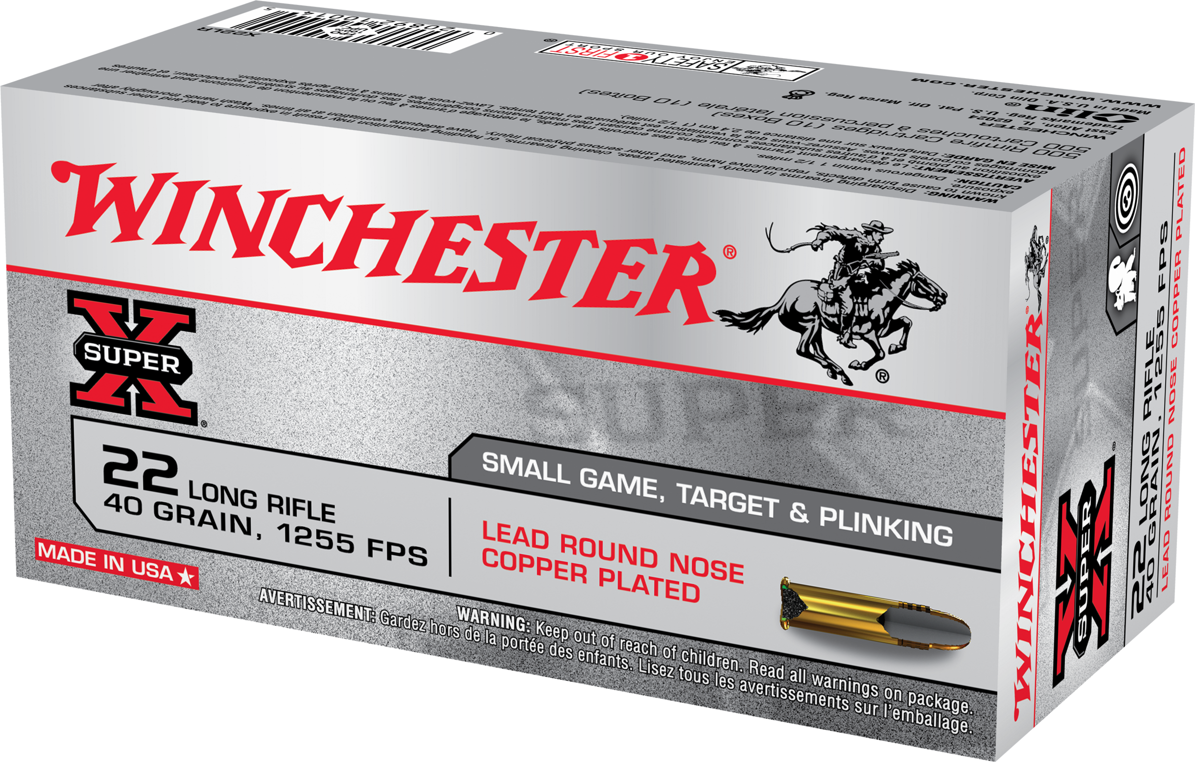 Winchester Super-X Ammunition 22 Long Rifle 40 Grain Copper Plated Round Nose Per 50